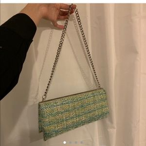 green blue tan and white tweed purse